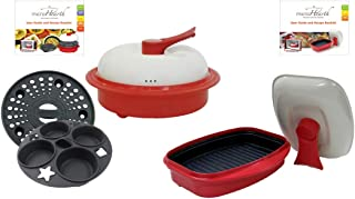 Microhearth Cookware Set (Everyday Pan Combo & Grill Pan) for Microwave Oven, Red