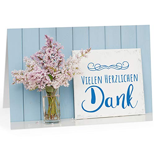 Große Dankeskarte XXL (A4) als Dankeschön/Vielen herzlichen Dank vor blauer Wand/mit Umschlag/Edle Design Klappkarte/Danke sagen/Danksagung/Danke sehr/Extra Groß/Edle Maxi Gruß-Karte