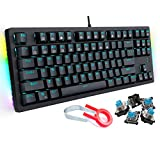 Mechanical Keyboard Wired Gaming Keyboard with Blue Switches LED Backlit 87 Keys N-Key Rollover Computer Keyboard for PC Gamers, Black