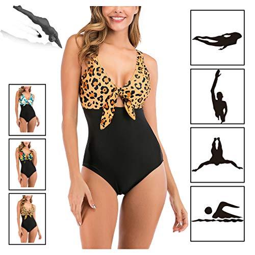 Women's One Piece Swimsuit, V-hals Bikini Sets, Tummy controle badpak Retro Vintage Swimwear, Strand Badpakken,A,XXL