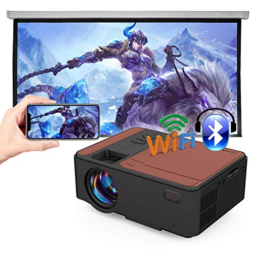 Portable WiFi Projector with Bluetooth, 3800 Lux Mini Projector Support HD 1080P, Wireless Screen Mirroring for iOS/Android, Compatible with Laptop, PC, DVD, PS4, TV Stick, for Outdoor Movies