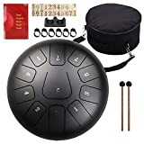 Steel Tongue Drum, Tank Drum for adults and children, Easy to Use, Christmas Holiday Gift, with Rubber Mallet, Fingertips, Padded Travel Bag (10inch, Black)