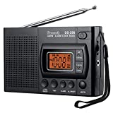 DreamSky Portable AM FM Radio Alarm Clock, Earphone Jack, 12/24H Time Display with Backlight, Ascending Alarms, Battery...