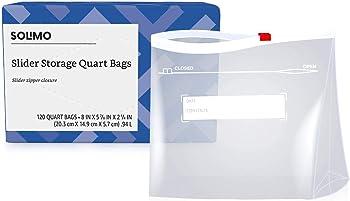 120-Count Solimo Slider Quart Food Storage Bags