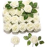 PartyWoo Künstliche Rosen, 20 Stück Kunstblumen, Künstliche Blumen, Deko Blumen, Schaumrosen, Kunstblumen Deko, Kunstblume für Geburtstagsdeko, Hochzeitsdeko, Party Deko (Beige)