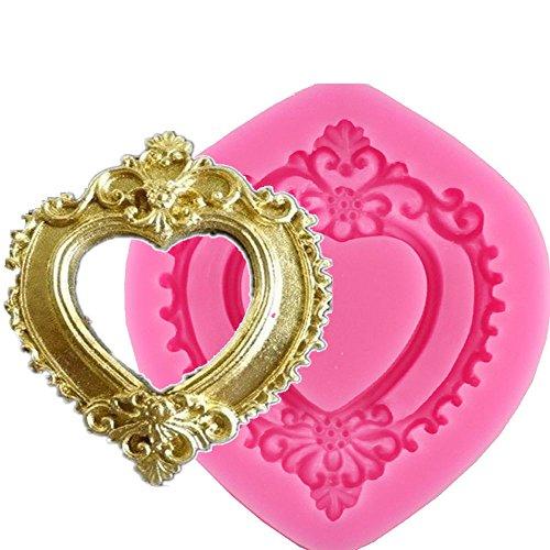 Vintage Love Herz Form Spiegel 3D Rahmen Silikonform Schokolade Dekoration Formen