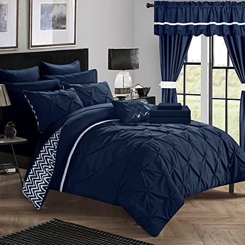 Chic Home Jacksonville Bedding Set, King, Navy