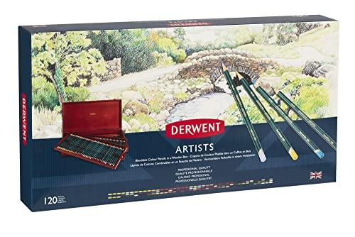 Derwent Artists - Set de 120 lápices de colores en estuche de madera