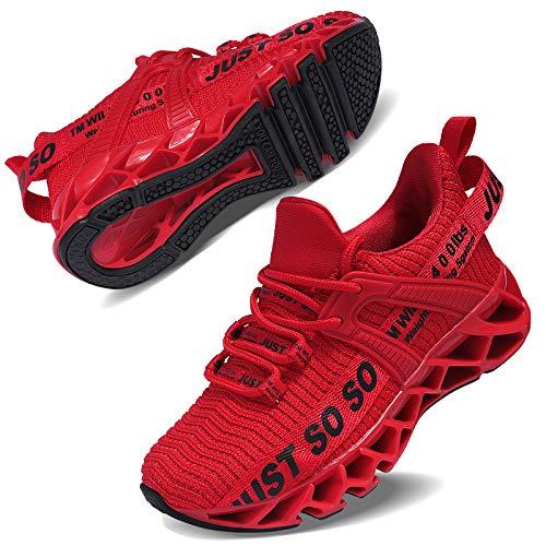 Vivay Turnschuhe Kinder Sportschuhe Mesh Atmungsaktiv Laufschuhe Sneaker Hallenschuhe für Damen,2Rot,34 EU