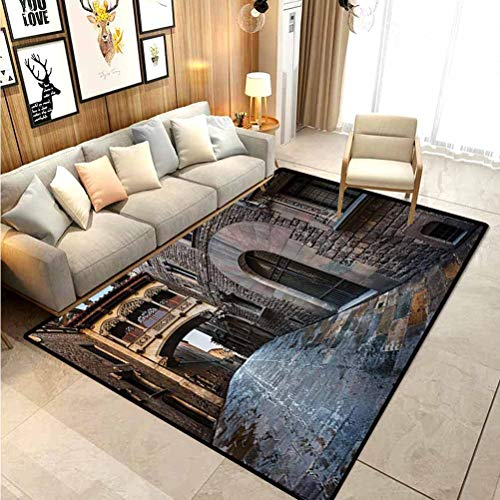 Medieval Decor Collection Fur Rugs for Bedroom Gothic Quarter and Bridge Spainish Old Medieval Streets Historical Heritage The Past Photo Indoor Throw Area Rug for Living Room Kids Room Grey 4 x 5 Ft