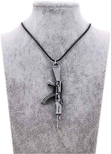 JIUJINHerren S Pistole Anhänger Halskette Vintage Gold Ak 47 Halskette Herren Schmuck Halsbänder Geschenk Seil Kette Antik Silber