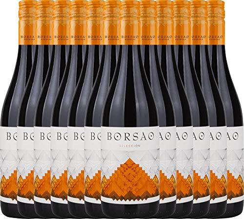 VINELLO 12er Weinpaket Rotwein - Borsao Selección Joven 2019 - Bodegas Borsao mit Weinausgießer | trockener Rotwein | spanischer Wein aus Aragonien | 12 x 0,75 Liter