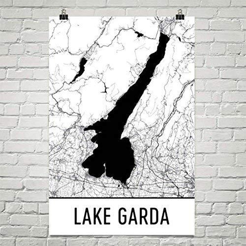 Moderne kaart Art Lake Garda Italië, Italië Poster, Italië Kaart, Italiaanse Decor, Lake Garda Map, Garda Lake Art, Cottage Decor, Garda Poster