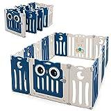 COSTWAY Parque para Niños con 16 Paneles en HDPE, Valla Plegable para Niños con Cierre de Seguridad y Juguetes Educativos, Centro Actividad para Niños con Formas Regulables (azul)