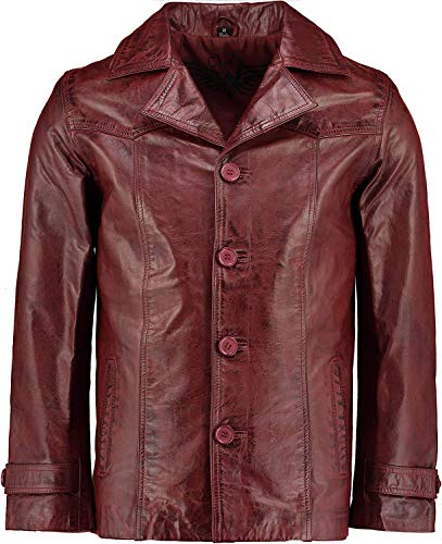 Charlie LONDON Mens Heist Red Wine Antique Vintage Giacca in pelle Rosso XL