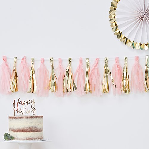 Ginger Ray Pink And Gold Foiled Baby Shower Party Tassel Garland 16 Pack