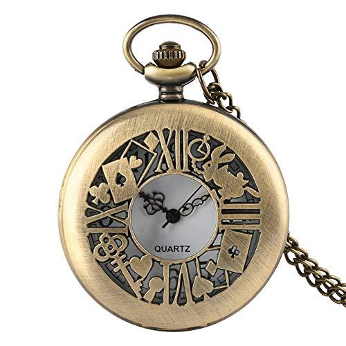 Alicia en el país de Las Maravillas Reloj de Bolsillo de Cuarzo Collar de Cristal marrón Oscuro Colgante Regalos para Mujeres niñas 5