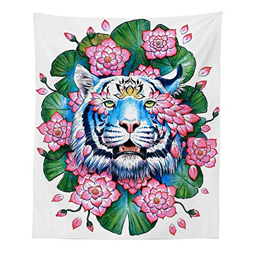 BOYOUTH Tapestry Wall Hanging,Watercolor Tiger,Lotus Leaf and Lotus Flower Picture Digital Print Wall Tapestry Home Decor for Living Room Bedroom Dorm,78.7 Inches by 59.1 Inches