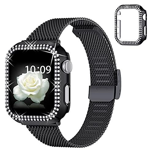 wlooo Compatibile con Apple Watch Cinturino 38mm 40mm 42mm 44mm, Glitter Diamante Cover & Maglia Milanese Cinturino in Acciaio Inossidabile in Metallo per iWatch Serie 6/5/4/3/2/1/SE (Nero, 42mm)