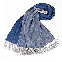 スカーフ 女性のウールマフラーロングタッセルスカーフ秋冬冬両面色ブランケットショールファッション 女性のスカーフ&ラップ (Color : Blue-A)