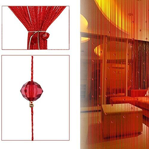Matedepreso Home Kette Perlen Schnur Türvorhang Schrim Organizer Zimmer Fensterrollo Quaste (Pink) - Rot, Free Size