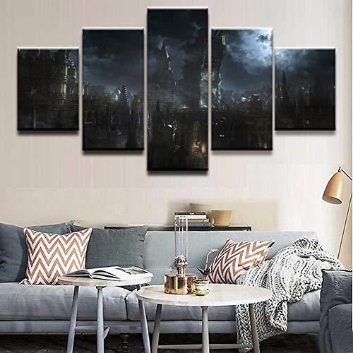 AMOHart Leinwanddrucke Wandkunst Abstract Decor 5 Stücke Spiel Bloodborne Gebäude Moderne Wohnzimmer Poster Drucke auf Leinwand Rahmen