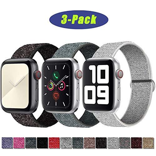 SSEIHI Correa de Apple Watch 42mm 44mm,Soft Sport Strap Reemplazo de Correa de Repuesto de Nylon Transpirable Ligero para la iWatch Serie 5/4/3/2/1,Sport+, Edition,Black/White/Gray
