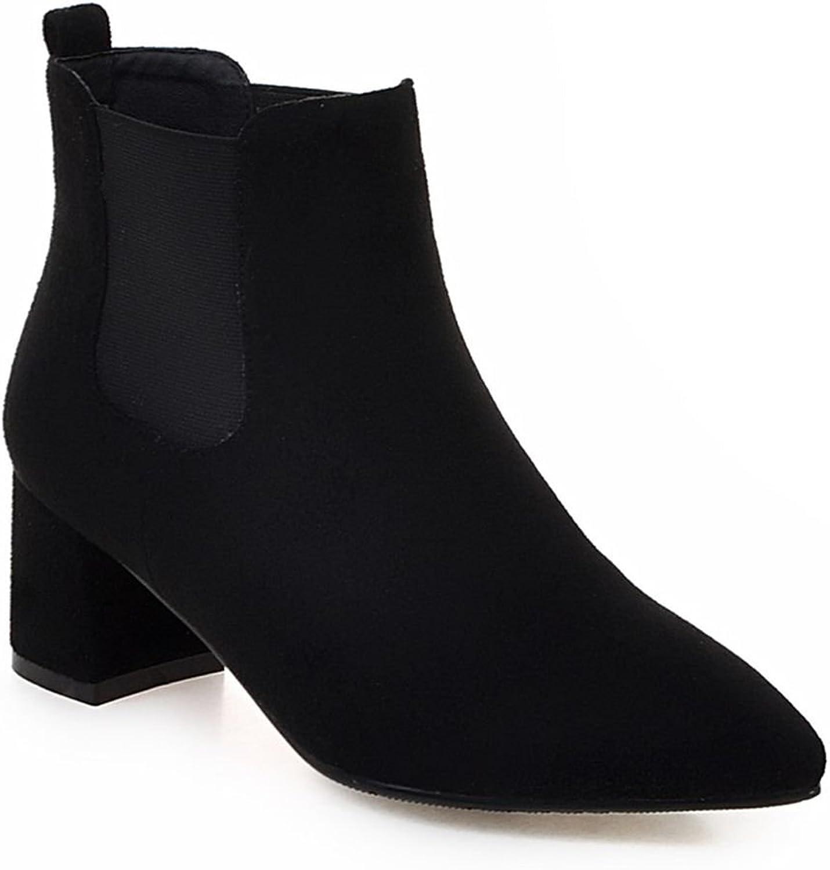 Kaloosh Women's Beautiful Nubuck Leather Pointed Toe Block Heel Chelsea Boots Black