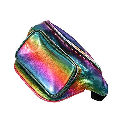 laamei Riñonera para Mujer de Neón Brillante Resistente al Agua Gradiente Color Fluorescente Bolsos de Hombro Bolsa de Cintura Moda Impermeable para Festivales y Viajes