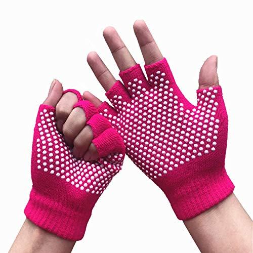 Lorenlli Yoga-Handschuhe rutschfeste Baumwoll-Plastikhandschuhe Atmungsaktive Fitness Yoga Pilates Herbst- und Winter-Halbfingerhandschuhe