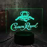 NUEVO Crown Royal LOGO Whisky Whisky Wine Office 3D LED Luz de noche USB Lámpara de mesa Niños Regalo de cumpleaños Decoración de la habitación