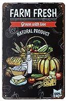 農場の新鮮な天然物おいしい食べ物、田舎の金属スズのロゴ、アンティークアートのポスター、プレート、キッチン、家庭の壁の装飾