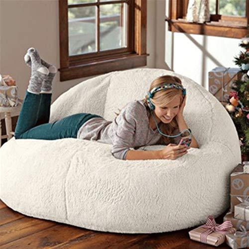 jidan Durable Comfortable Bean Bag Chair Big lamb velvet bean bag sofa set lazy sofa bed unfilled children's adult balcony corner stool fluffy cushion (Color : 80x135cm double)