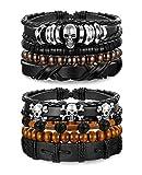 sailimue 8 Pcs Bracelet en Cuir Corde pour Hommes Femmes Bracelet Perle Unisexe Bracelet Tête de Mort Chaîne de Main Réglable Noir Brun
