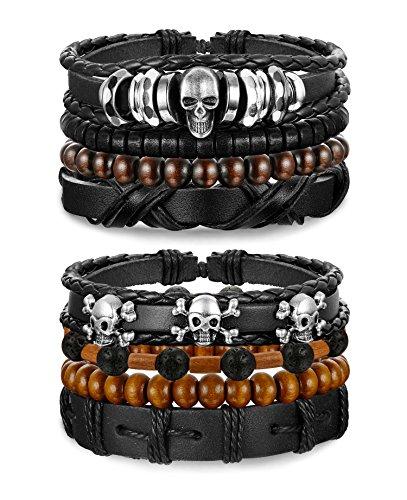 sailimue 8Pcs Leder Männer Armband für Herren und Frauen Schnur verstellbaren Armbänder Totenkopf Schädel Armreif Geflochtenes Unisex Schmuck
