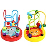 Biubee Pack of 2 Bead Maze Toy- 2 Styles Wooden Roller Coaster Game Colorful Educational Circle Toys Math Abacus Toys for Kids Attention Counting Grasping Ability Training