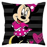 LUCKY Home Cute Minnie Mouse Funda de cojín cuadrada decorativa para sofá coche/dormitorio/sala de estar 45 x 45 cm