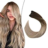 Ugeat 20 Inch Sew in Human Hair Extensions Remy Human Hair Extensions 100G Brazilian Human Hair Weave Bundles for Women Brown #2 Mixed with Ash Blonde #18 Natural Soft Hair