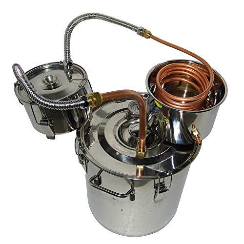 OLizee 8 Gal Stainless Steel Water Alcohol Distiller Copper Tube 30L Moonshine Still Spirits Boiler Home Brewing Kit with Thumper Keg