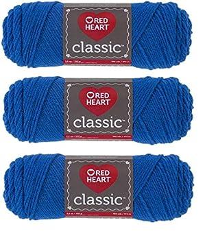 Red Heart Classic Yarn E267 3.5 Oz Skipper Blue 3-Pack