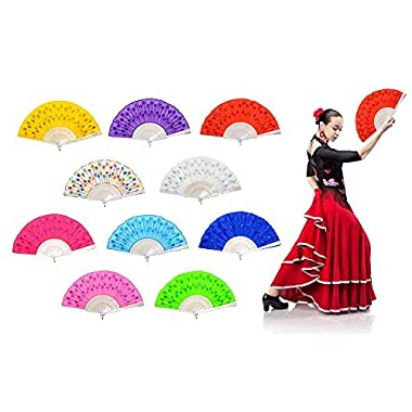 OMyTea  White Peacock Folding Hand Held Fans Bulk Women - Spanish/Chinese / Japanese Vintage Retro Fabric Fans Wedding, Church, Party, Gifts (Mixed Colors, 10pcs)