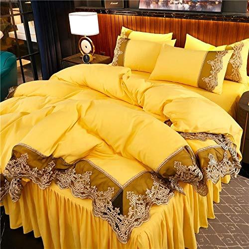 Bedding-LZ -Falda de lecho de Encaje Set de Cuatro Conjuntos de Seda Europea de Gama Alta Princesa de Viento dormitorios Antideslizantes para Hornear-O_1,8 m Cama Cuatro Piezas