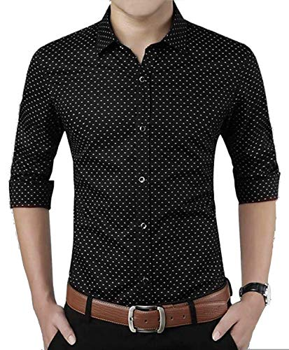 ZAKOD Polka Print Dotted Cotton Shirts for Men for Formal Wear,100% Cotton Shirts,Available Sizes M=38,L=40,XL=42 (Black, Large)