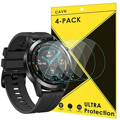 CAVN Panzerglas Kompatibel mit Huawei Watch GT 2 46mm Schutzfolie [4-Stück], (Nicht für GT) Wasserdichtes gehärtetes Glas Anti-Scratch Anti-Bubble Bildschirmschutzfolie Schutz für GT2 46mm