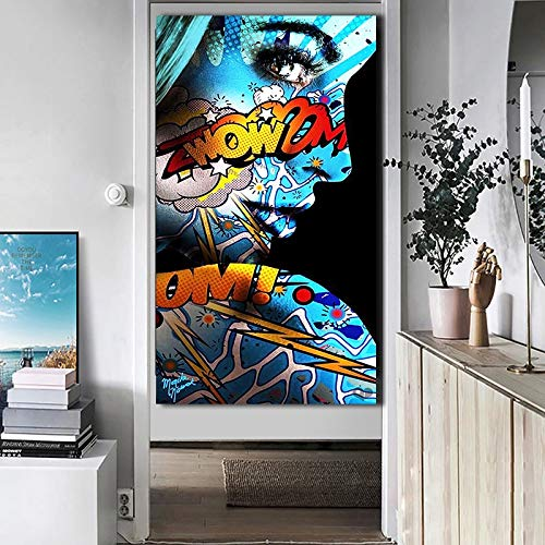 ganlanshu Graffiti Frau Porträt Ölgemälde Poster und Druck Gravur Wohnzimmer Leinwand Malerei Kunst Porträt,Rahmenlose Malerei,60X120cm