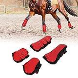 Cikonielf Stivali per Le Zampe Posteriori per Cavalli Anteriori Stivali per Le Gambe per Cavalli Pony Proteggi Gambe Regolabili Protezioni per Le Gambe per Cavalli Set per l'equitazione(Rosso)