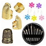 4 Pcs Sewing Thimble + 30 Pcs Sewing Needles, Finger Protector Fingertip Thimble Adjustable Metal Bronze Sewing Thimble Rings and Leather Coin Thimble for Needlework, Hand Embroidery Craft