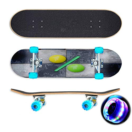 Close up van een percentage teken leunend op zwart wit schaken Skateboard Colorful Flashing Wheels Extreme Sports&Outdoors 31''Cruiser Complete Standard Longboard Beginners Kids Cool Boys Teen