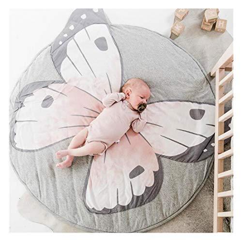 Alfombra redonda para niños, 100 % algodón suave, alfombra de juego para bebé, color gris, 90 cm gris mariposa Talla:90 cm