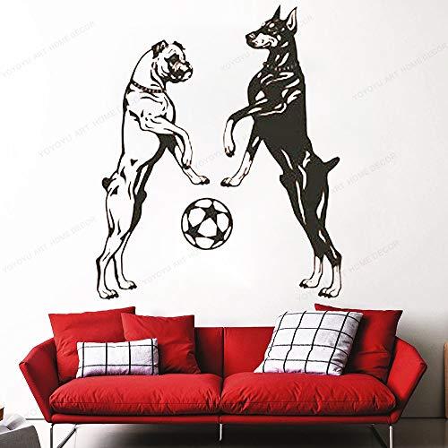 T-YIFUZX Boxer y Doberman Perro Juego de Colgar en la Pared Bola Tienda de Mascotas calcomanía de Pared Vinilo Pegatina Mascota habitación de los niños decoración de la Pared 57x69CM